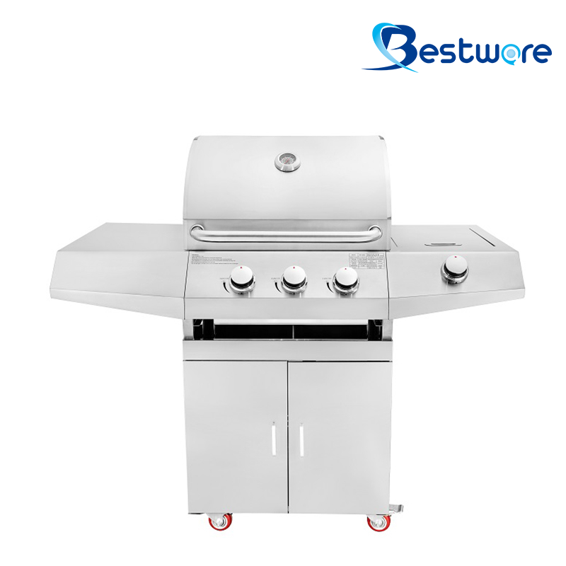 3+1 Outdoor Freestanding Gas Grill on Cart